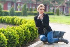 Girl Posing in the Park Royalty Free Stock Photography