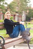 Girl Posing in the Park Stock Image