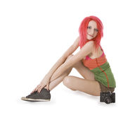 Girl posing with photocamera Royalty Free Stock Images