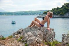 Girl Posing at Sea Stock Photo