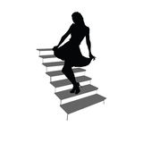Girl posing on the stairs black silhouette Stock Photo