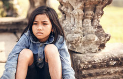 Girl posing at sunset in Angkor Wat, Cambodia Royalty Free Stock Image