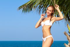 Girl posing in swimsuit next to palm tree Royalty Free Stock Photo