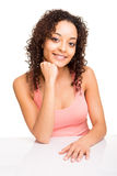 Girl posing on table Royalty Free Stock Photo