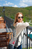 Girl Posing on Terrace Stock Photo