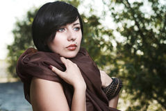 Girl posing in a tree shade Royalty Free Stock Photos