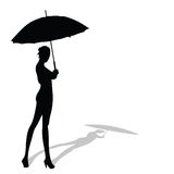 Girl posing with umbrella in hand Royalty Free Stock Photography