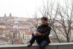 Girl posing at Vitkov hill Stock Photography