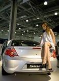 Girl posing on Volga Siber Royalty Free Stock Photo