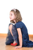 Girl posing while wearing her mother's shoes Royalty Free Stock Photos