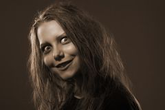 Girl possessed by a demon Royalty Free Stock Image