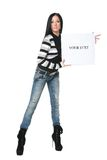 Girl with the poster. The beautiful girl with a banner in hands Royalty Free Stock Photography