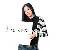 Girl with the poster. The beautiful smiling girl with a poster in hands on a white background Royalty Free Stock Photo
