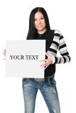 Girl with the poster. The beautiful smiling girl with a poster in hands on a white background Royalty Free Stock Photography