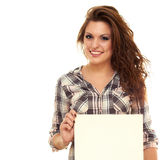 Girl with a poster. Beautiful smiling girl with a poster Royalty Free Stock Image