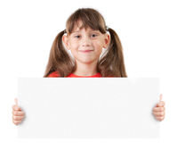 Girl with a poster in hands Royalty Free Stock Photo