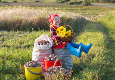Girl with potatoes Stock Photography