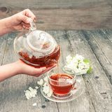 The girl pours hot herbal jasmine tea in a transparent glass cup on a wooden table royalty free stock image