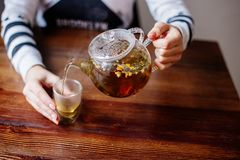 Pouring Herbal Tea. stock photography