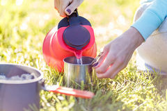 Girl pours water from kettle Royalty Free Stock Image