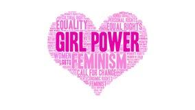 Girl Power Animated Word Cloud stock video