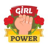 Girl power badge, logo or icon with hand and flowers. Girl power badge, logo or icon with a fist, red roses and yellow ribbon representing rebellion women Royalty Free Stock Image