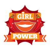 Girl power badge, logo or icon with lips and chili. Girl power badge, logo or icon with red smiling lips and chili together with orange ribbon representing Stock Photo