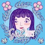 Girl power cartoon vector illustration