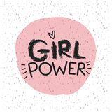 Girl power emblem text in pink circle on white background with sparkles. Vector illustration Royalty Free Stock Photography