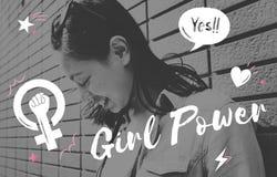 Girl Power Equality Feminist Women`s Right Concept. Girl Power Equality Feminist Women`s Right Stock Photos
