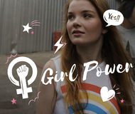 Girl Power Equality Feminist Women`s Right Concept Stock Photography