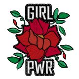 Girl Power - fashion badge or patch. Embroidery Rose with Leaves Stock Photo