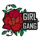 Girl Power - fashion badge or patch with slogan. Embroidery Rose. With Leaves for rock girl gang. Vector design element, sticker, pin or patches in vintage Royalty Free Stock Photo