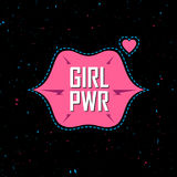 Girl Power - feminist slogan, fashionable fun girly patche, stic. Ker or pin. Fashion vector illustration. Glam T-shirt apparels print for girls with lips and Royalty Free Stock Photos