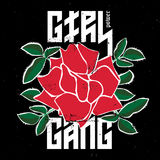 Girl Power Gang - fashion patch or badge. Red Rose with thorns a. Nd Leaves for rock girl gang. T-shirt apparels print for girls with slogan. Vector sticker, pin Royalty Free Stock Photography
