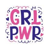 Girl power hand drawn lettering vector design stock illustration