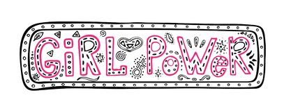 Girl power hand-lettering phrase in the frame, inspirational quote, colored graphic illustration in doodle style, Woman motivation. Girl power hand-lettering vector illustration