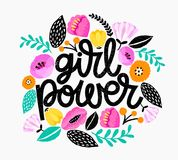 Girl Power - handdrawn illustration. Feminism quote made in vector. Woman motivational slogan. Inscription for t shirts, posters, royalty free illustration