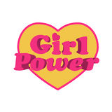 Girl Power Heart Shaped Typographic Design Quote Royalty Free Stock Photos