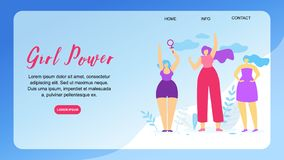 Girl Power Horizontal Banner with Copy Space. Venus Mirror. Female Sign and Feminism Symbol in Girls Hand. Three Multicultural Women Raising Fists in royalty free illustration