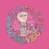 Girl Power Illustration. Girl power phrases and words with illustration of woman`s fist and hand. Feminist poster Stock Image