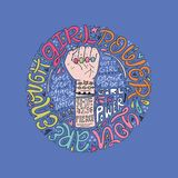 Girl Power Illustration. Girl power phrases and words with illustration of woman`s fist and hand. Feminist poster Royalty Free Stock Photo