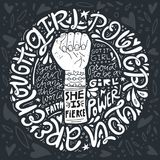 Girl Power Illustration. Girl power phrases and words with illustration of woman`s fist and hand. Feminist poster Stock Photo