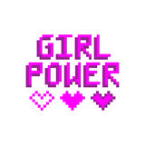 Girl power. The inscription with hearts in the eight bit style on a white background. Vector Image. It can be used for website design, article, phone case royalty free illustration