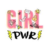 Girl Power lettering with girly doodles and hand drawn  Royalty Free Stock Image