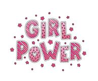 Girl Power Lettering. Girl Power. Hand Lettering with flowers. Pink colors. Cute sweet design for print woman shirt, card, sticker, banner, poster. Feminism Stock Images