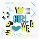 Girl power lettering with memphis geometric style fun art design vector illustration. Motivational text of Girl power lettering with memphis geometric style fun vector illustration