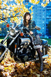 The girl and power motorcycle Royalty Free Stock Photography