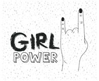 Girl power poster text and hand making horns signal in silhouette black over white background with sparkles. Vector illustration Royalty Free Stock Photo