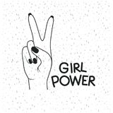 Girl power poster text and hand making victory sign in black silhouette over white background with sparkles. Vector illustration Stock Images